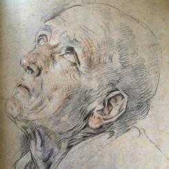 Guido Reni, Sant'Andrea Corsino, pierre noire et sanguine sur papier bleu décoloré, Paris, musée du Louvre.