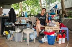 HONG KONG. Admiralty. A homeless man, Raymond Tseka Ping who lives under the bridge. 2013.
