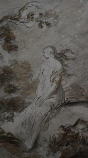 Jean-Honoré Fragonard, Olympe revient sur le rivage et médite sur son sort cruel, vers 1780 (détail)