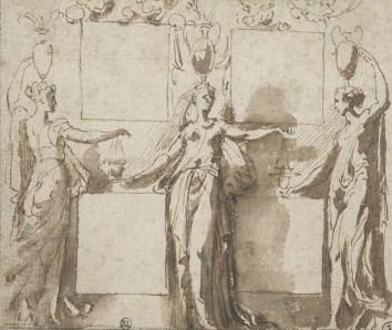 Parmigianino, Trois canéphores, l'une de face, les deux autres de trois quarts, plume et encre brune, lavis brun, 9,9 x 11,8 cm., Paris, musée du Louvre. © RMN-Grand Palais - T. Le Mage
