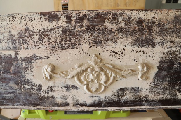 antique red wood mantel