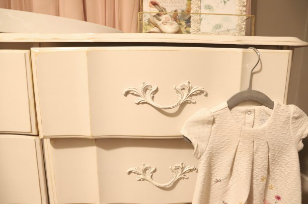 detail images of a refinished dresser in a little girls nursery