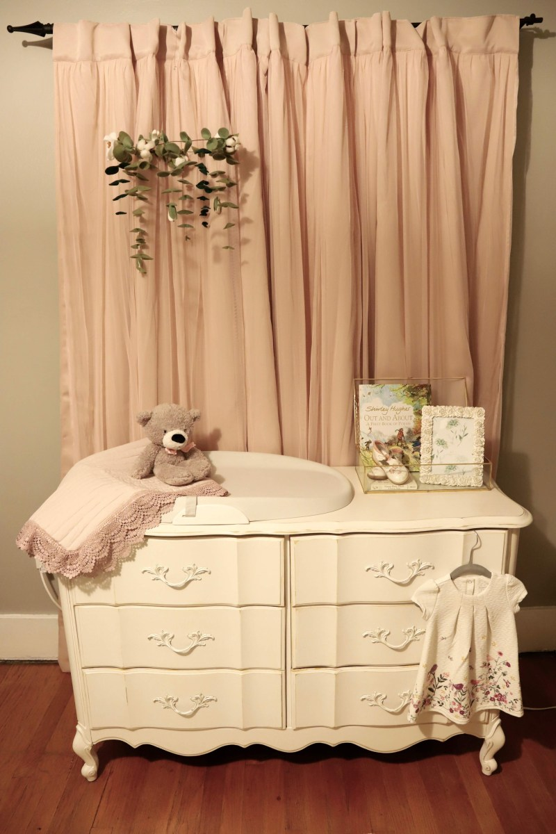 refinished dresser/changing table is what all the new mommies are asking for! Their character, functionally, and dual functionality can't be matched. See two examples for baby girl and baby boy rooms.