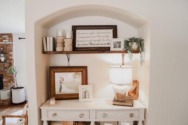 built in entry nook, farmhouse cottage style