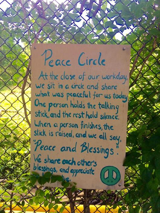 Peace Cirlce at Permaganic