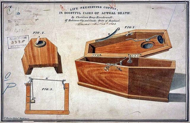 Life preserving coffin in doubtful cases of actual dead