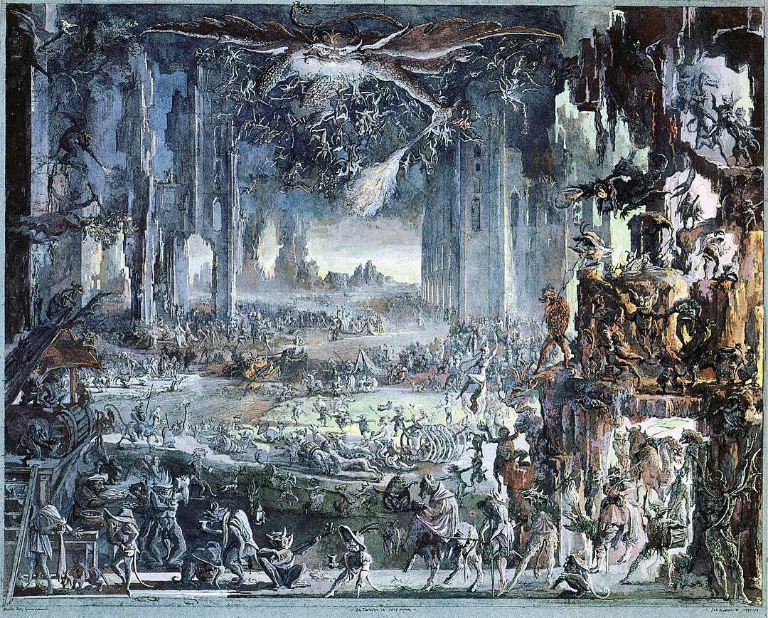 Erik Desmazières - The Temptation of St Anthony [a reimagining of the original art by Jacques Callot.]