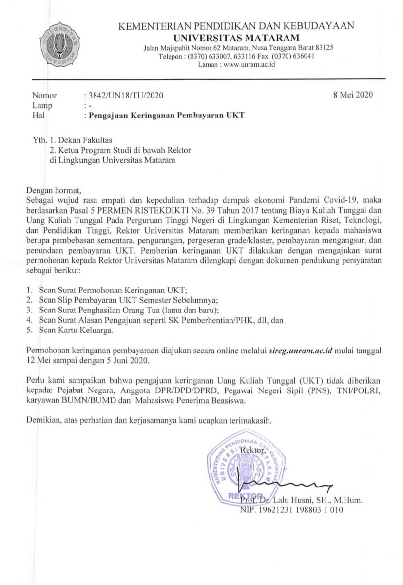 Pengajuan Keringanan Pembayaran Ukt Universitas Mataram