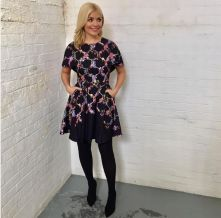 I am a huge fan of this patterned dress, which Holly styled, whilst live on This Morning