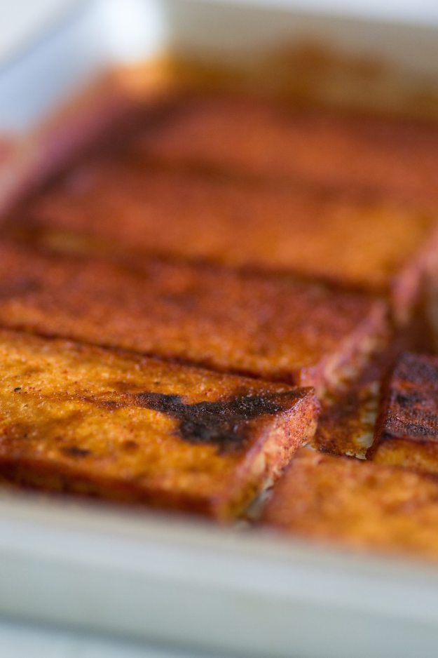 Oil-free Spicy Baked Tofu by An Unrefined Vegan
