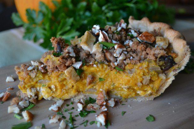 Savory Pumpkin Pie with Shiitake Mushroom Streusel