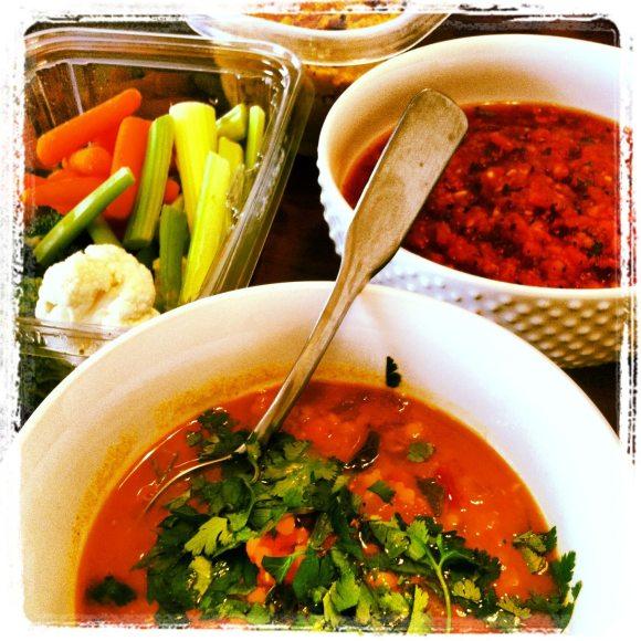 Moroccan Lentil Soup, Hummus, Salsa, Raw Veggies