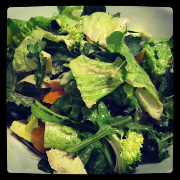 Big salad for dinner.