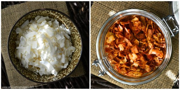 coconut flakes and coconut bacon