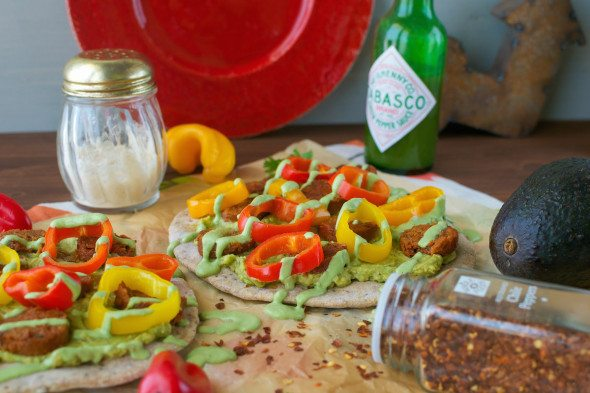 Vegan Chipotle Sausage, Peppers & Avocado Flatbreads An Unrefined Vegan
