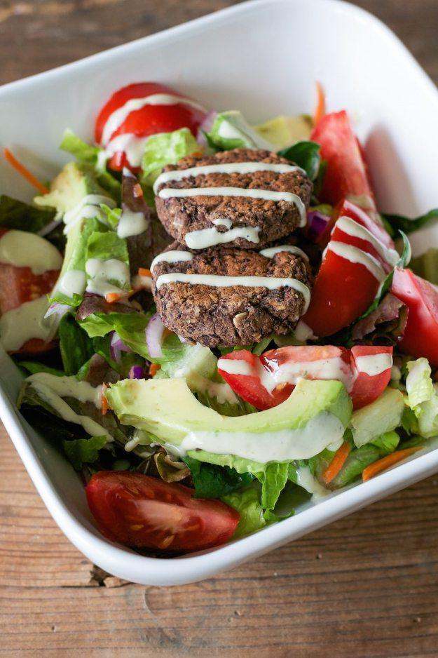 Black Bean Burger Veg Salad from The Abundance Diet Photo by Annie Oliverio