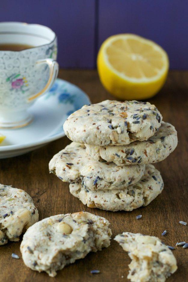 Gluten-free Sugar-free Lemon Lavender Macadamia Nut Cookies by An Unrefined Vegan