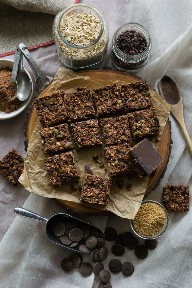 Chocolate Espresso Toasted Oat Bars by An Unrefined Vegan