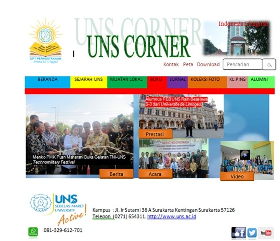 Tampilan website UNS Corner.
