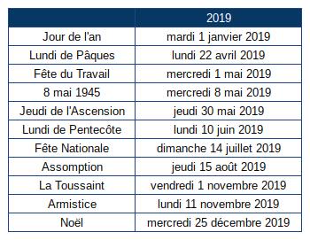 """Résultat de recherche d'images pour """"jours fériés 2019"""""""