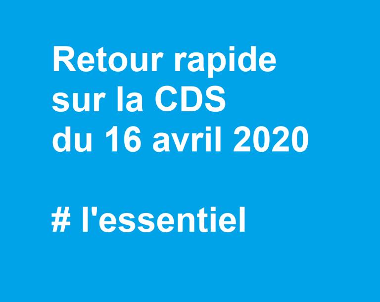 [UNSA] Retour rapide sur la CDS du 16 avril 2020 #l'essentiel