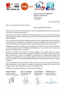 Courrier commun des organisations syndicales représentatives au ministre de l' Intérieur - 20 mai 2016