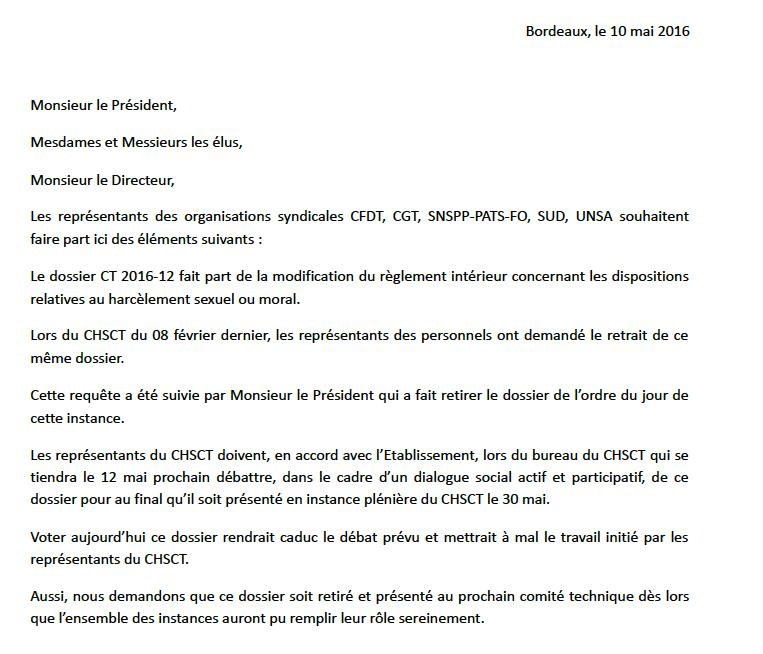 Declaration liminaire du CT du 10 mai 2016 - CHSCT