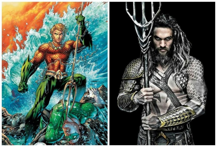 Captions: Left - How Aquaman traditionally looks like, blonde, white as can be. Right - Not sure if you can tell but Jason Momoa's Aquaman is very not blonde. Captions: Left - How Aquaman traditionally looks like, blonde, white as can be. Right - Not sure if you can tell but Jason Momoa's Aquaman is very not blonde. (Image source: Moviepilot)