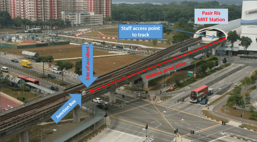 The accident happened about 150m from where the staff accessed the track. (Source: SMRT)