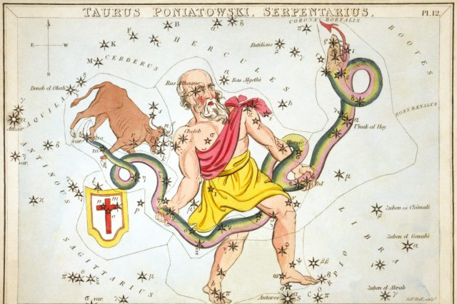 Ophiuchus himself wrestling his snake mate - Wikimedia