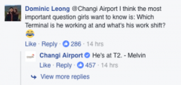 Comment on Changi Airport's Facebook Page
