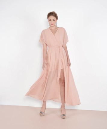 Bridesmaid dress HerVelvetVase TZAR KIMONO MAXI - PALE PEACH