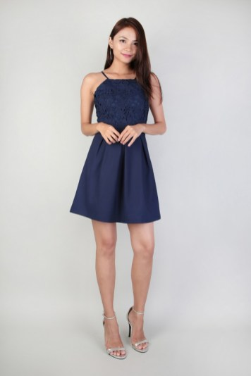Bridesmaid dress MGP CLARISSE CROCHET FLARE DRESS IN NAVY
