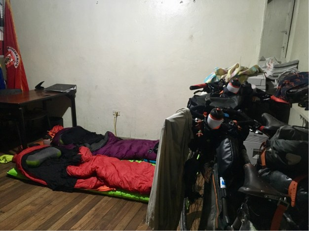Our bed for the night - a fire fighter's office