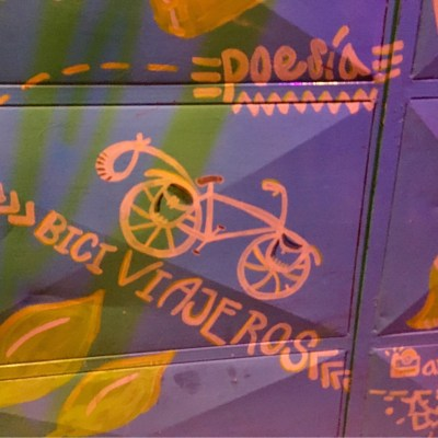 'The Lemon Trip' is a funky restaurant in Loja and has bicycle related artwork on their doors