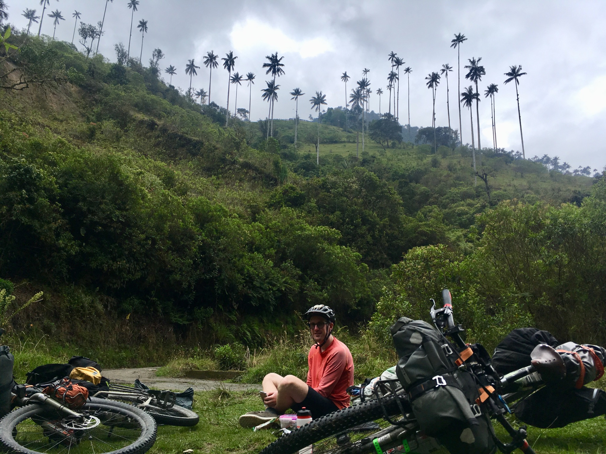 ben having lunch with bikes in foreground, tall palm trees on mountains behind