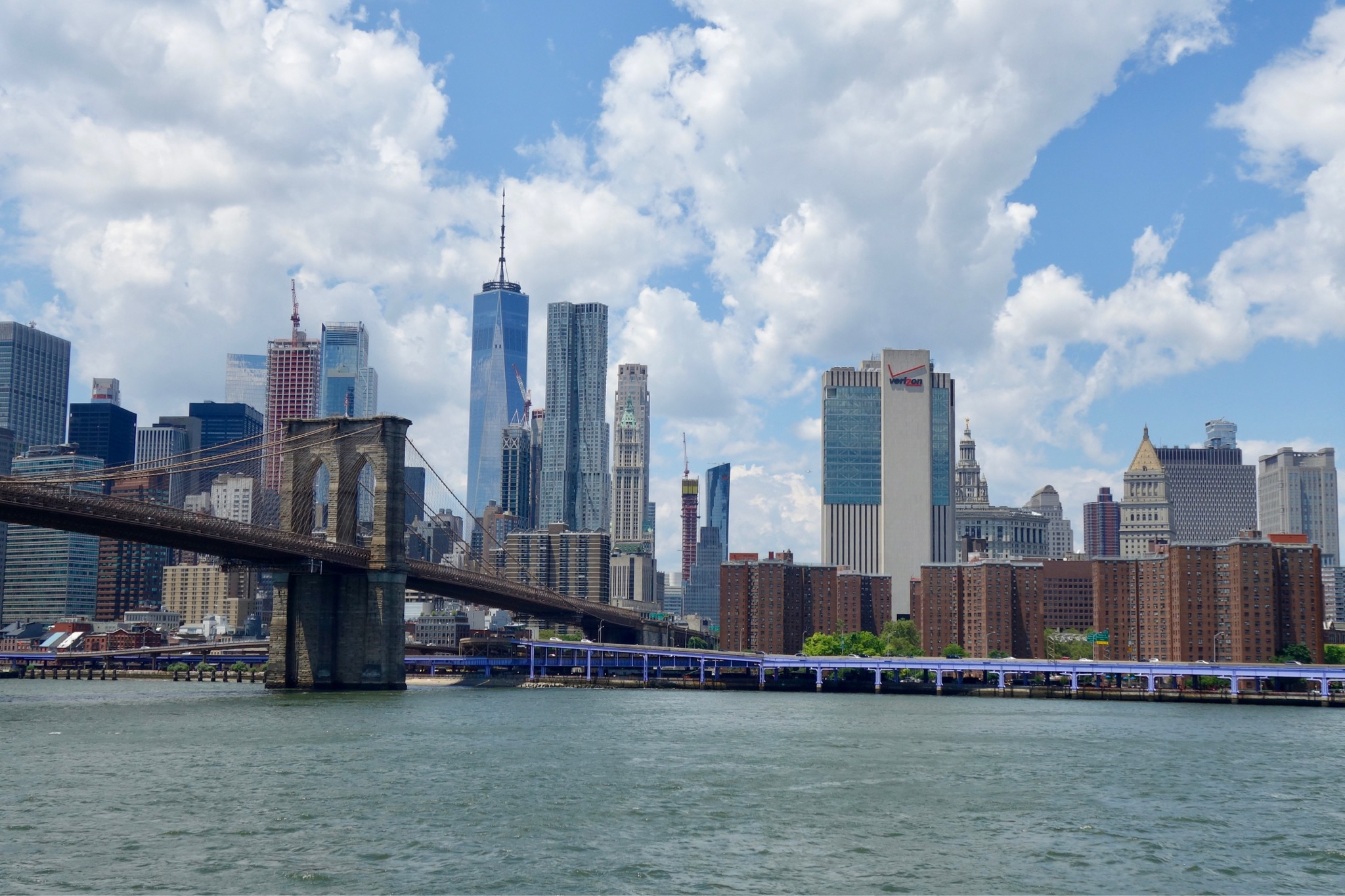 Brooklyn bridge and World Trade Centre Peace Tower from New York ferry