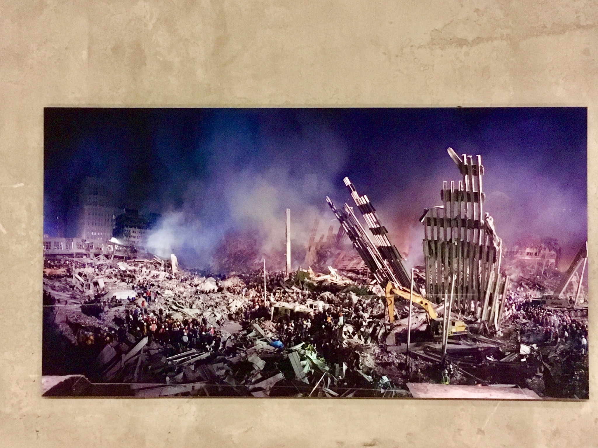 Photo inside World Trace Centre museum showing damage after 9/11 attack