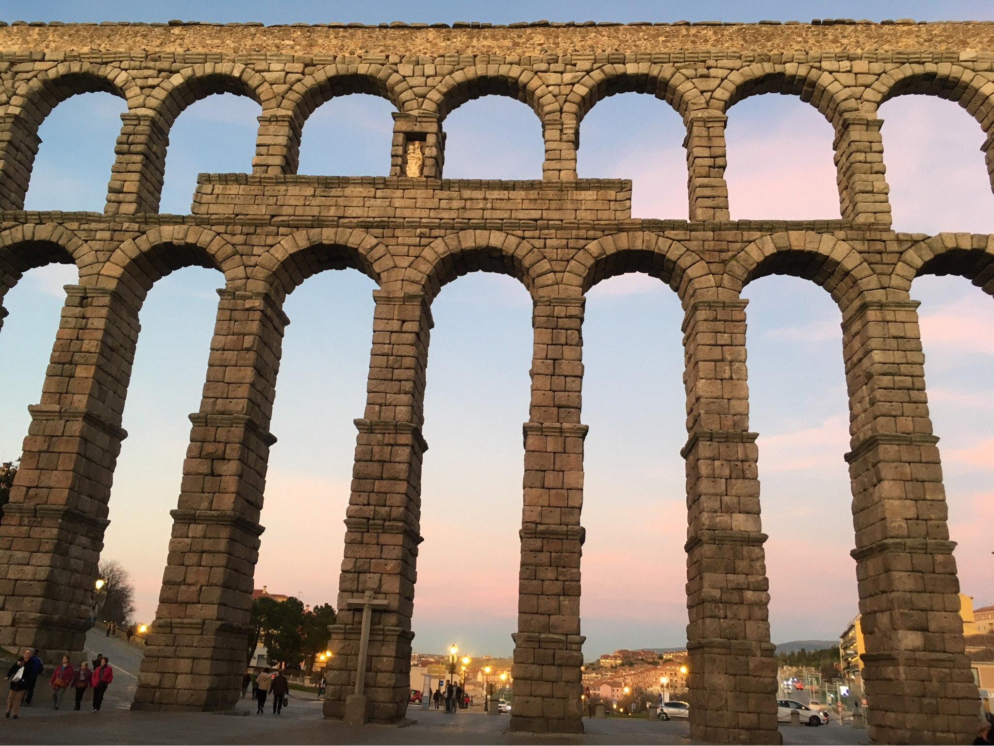 The aqueduct in Segovia At sunset