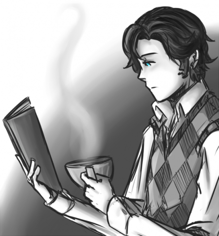 Chico leyendo un libro con una taza de café