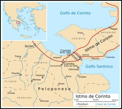 Mapa del istmo de Corinto. Se distingue la ubicación del Antiguo Corinto y las ciudades del entorno.