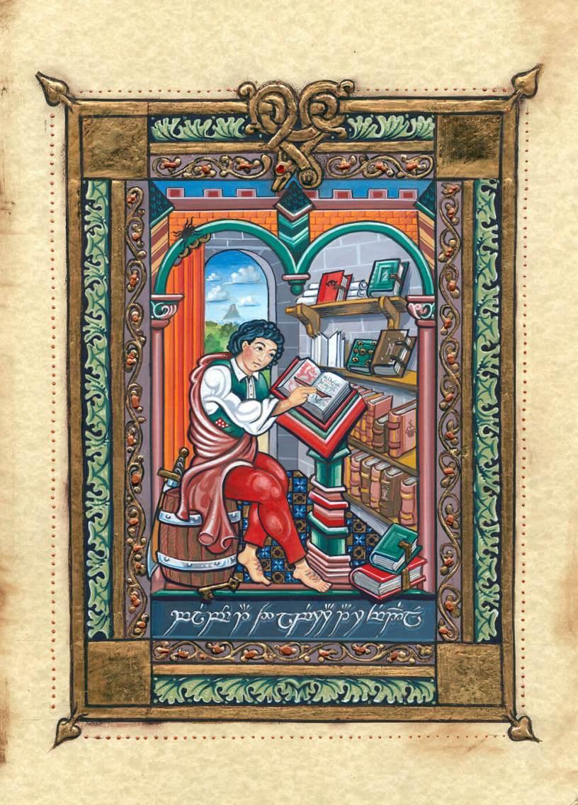 Bilbo en la Biblioteca de Rivendel