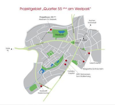 Karte Projektgebiet 55 plus am Westpark