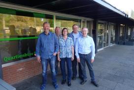 Foto des gewählten Vereinsvorstandes v.l.n.r: Rüdiger Dietrich (1. Vorsitzender), Sigfried Heider (Beisitzer), Andrea Duffhauß (2. Vorsitzende), Jakob Küppers (Beisitzer) und Ulrich Buchholz (Kassenwart).