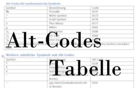 Bild: Alt-Codes Tabelle