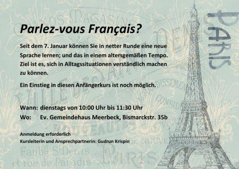 Aushang / Plakat -Parlez vous Français? -