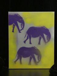 Grafitti für Seniorinnen und Senioren - Violettas violette Elefanten
