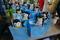 Paule Pinguin, das Maskottchen der Stadtbibliothek freut sich über den Zuwachs.