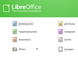 LibreOffice Startbildschirm