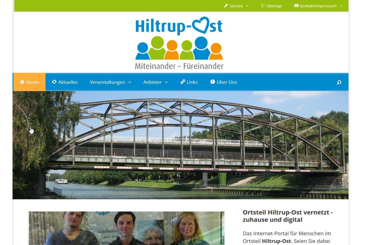 Screenshot des Quartiersportals Hiltrup-Ost